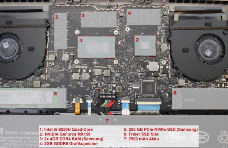 Partes del hardware del Xiaomi Mi Notebook Pro