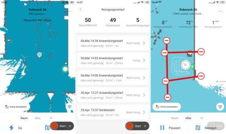 capturas de pantalla de la aplicación del Xiaomi Roborock S6