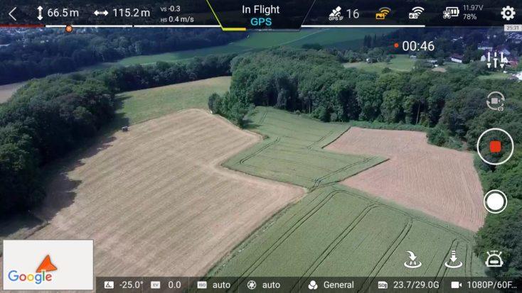 Captura de pantalla de la App de una grabación con el Drone FIMI X8 SE