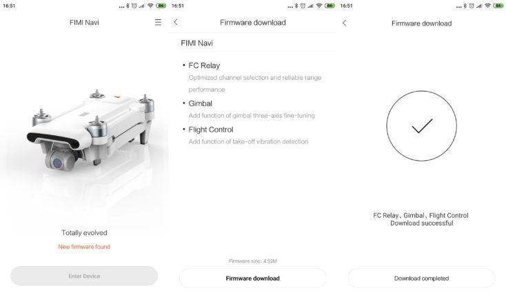 Actualizaciones de Firmware en la App del Drone FIMI X8 SE
