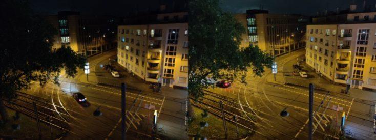 Izquierda foto de la calle modo normal, derecha con modo noche con la cámara principal del One Plus 7 Pro