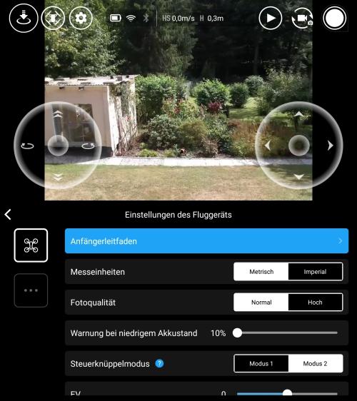 Interfaz de la App del Drone Ryze Tello