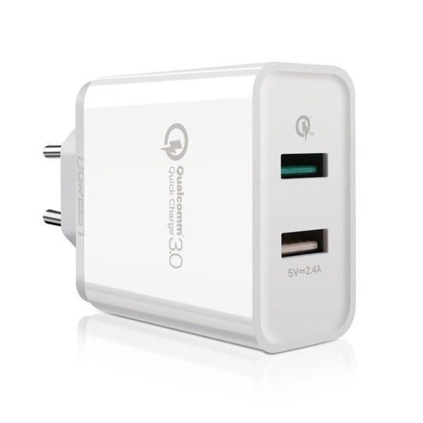 Cargador USB con dos puertos, uno con carga rpida