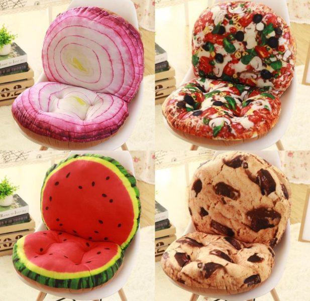 Cojines creativos, cebolla, pizza, sandía y cookie