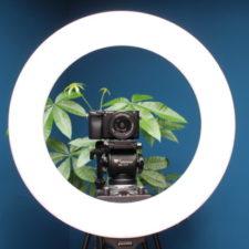 Anillo de luz para fotografía Craphy con trípode y cámara