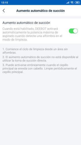 App aumento automático de potencia de aspiración