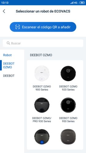 Seleccionar el Beebot Ozmo 900 en la App