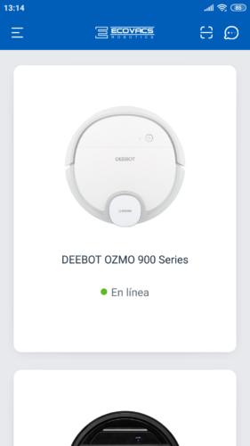 Robot aspirador Deebot Ozmo 900 en línea en la App