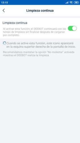 App activar Limpieza continua