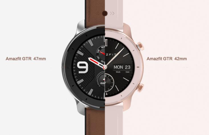 Diseño de los dos modelos del smartwatch Huami Amazfit GTR, izquierda 47 mm, derecha 42 mm