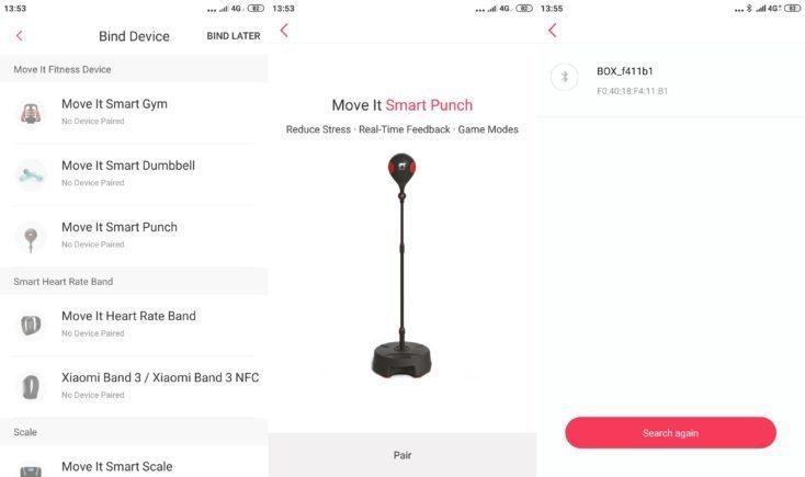 Vincular la Bola de boxeo inteligente MoveItSpeed al smartphone en la App