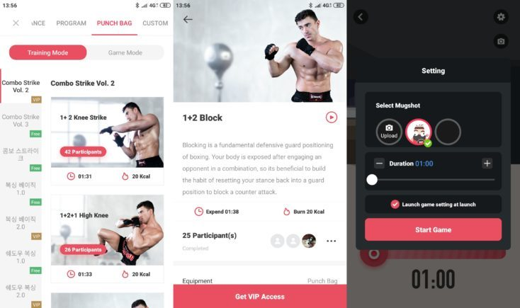 Modo de entrenamiento en la App