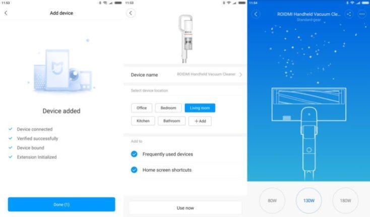 Interfaz de la Mi Home App con la Aspiradora inalámbrica Roidmi F8