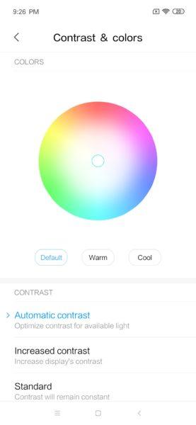 Ajustes de color de la pantalla del Xiaomi Mi 9 SE