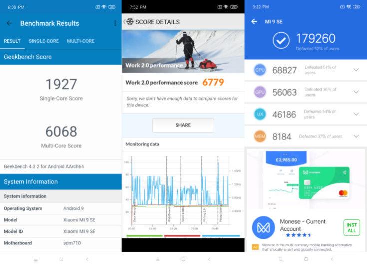Resultados de las pruebas de rendimiento del Xiaomi Mi 9 SE
