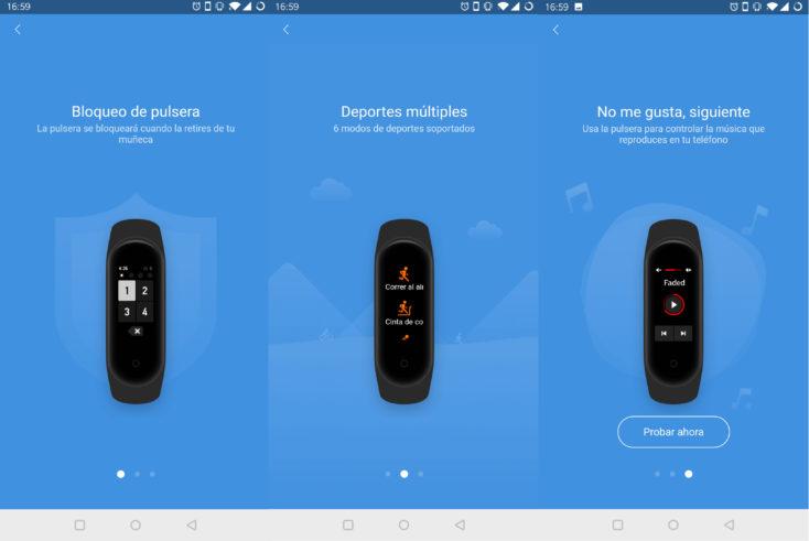 Captura de pantalla de la App de la Mi Band 4, desbloqueo, modos de deporte y control de la música