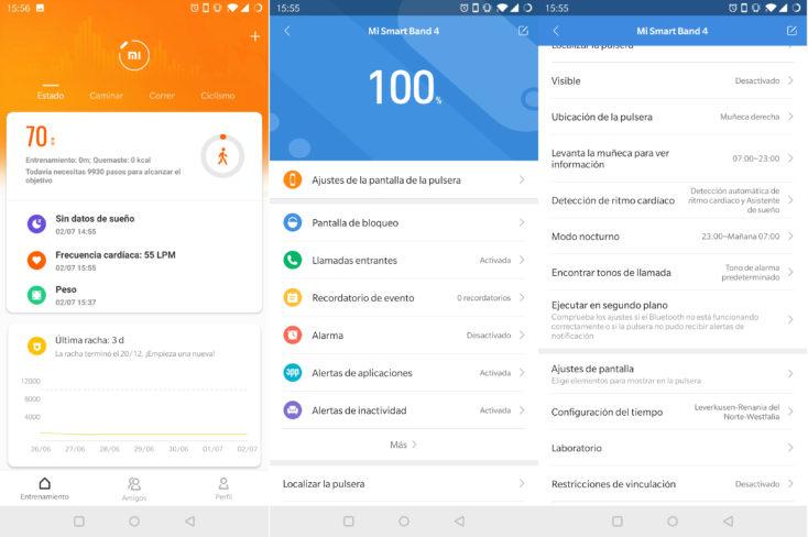 Captura de pantalla de la App de la Mi Band 4, montior de sueño y ajustes