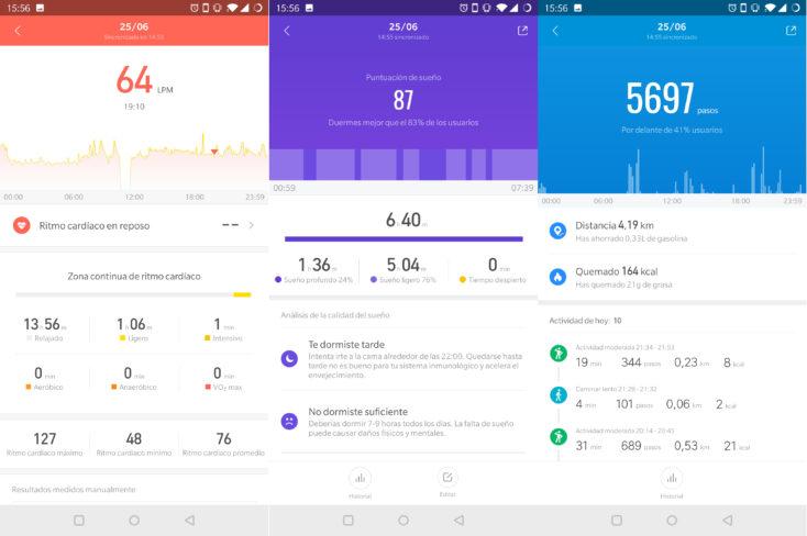 Captura de pantalla de la App de la Mi Band 4, ritmo cardíaco, medición del sueño