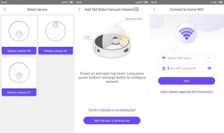 Conexión a la red WiFi con la App del robot aspirador