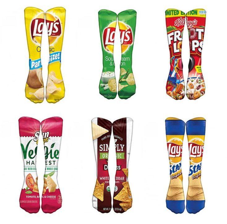 Calcetines con estampados de patatas fritas