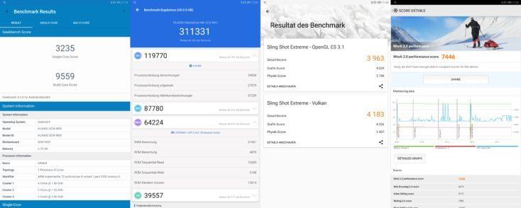 Resultados de los benchmarks de la tablet