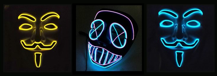 Diversos modelos de las máscaras LED de neón