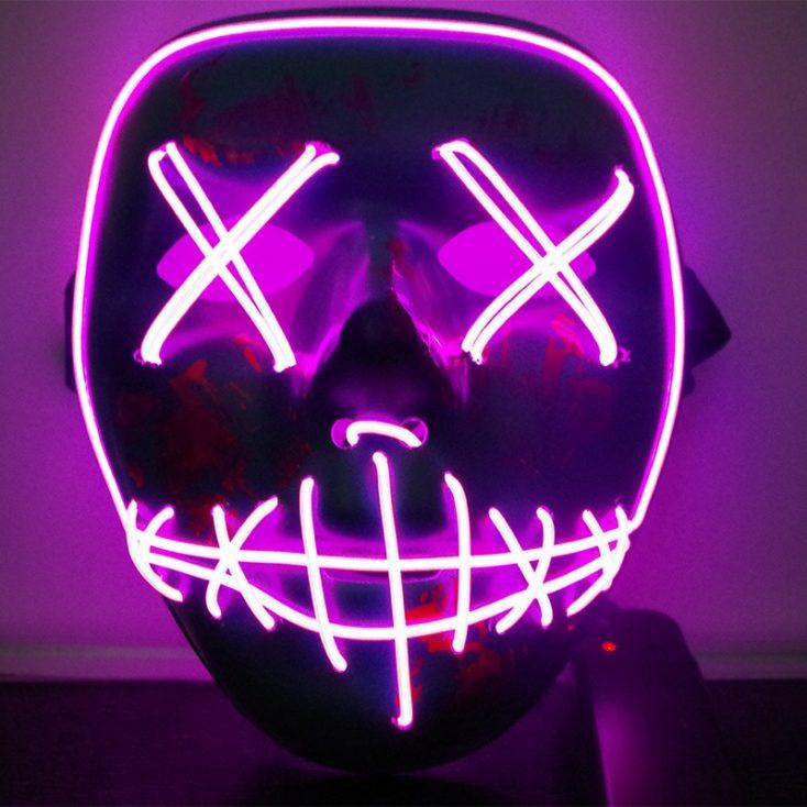 Máscara LED de neón en lila