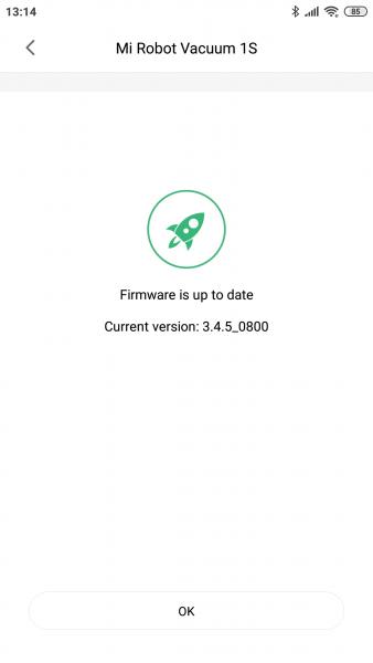 Última actualización instalada en el Mi Robot 1S