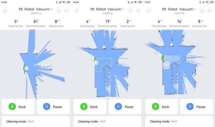 Navegación del Mi Robot 1S mostrada en la App