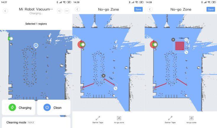 Zonas prohibidas y paredes virtuales en la App del Mi Robot 1S