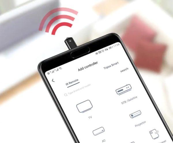 Control remoto infrarrojo conectado al smartphone