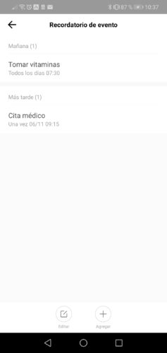 Recordatorios en la App del Amazfit GTS