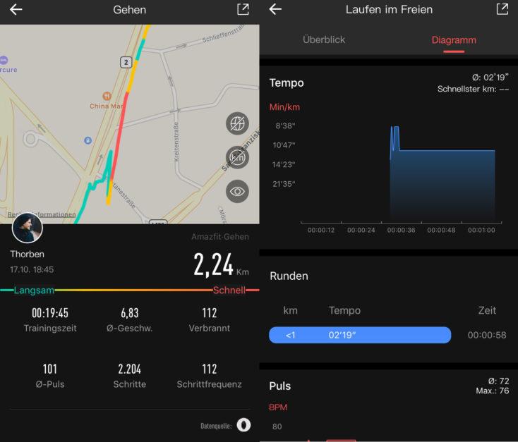 Seguimiento del deporte en la App del Amazfit GTS