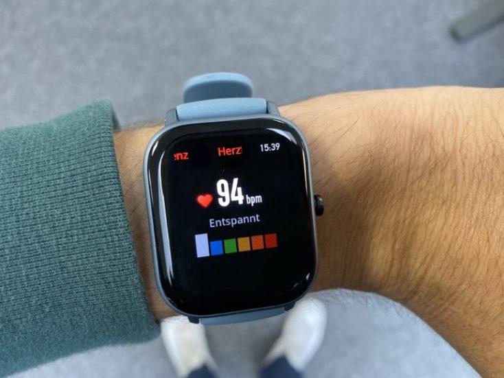 Frecuencia cardiaca medida en el Amazfit GTS