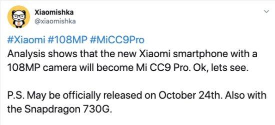 Tweet con detalles del Xiaomi CC9 Pro