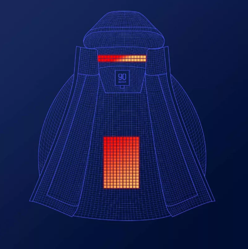 Imagen de la posición de las almohadillas térmicas en la chaqueta de plumas 90FUN con sistema de calefacción