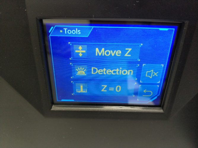 menú de herramientas en la pantalla de la impresora