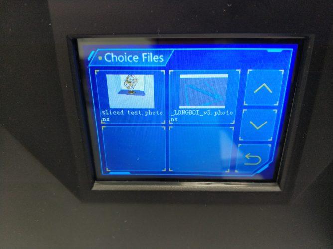 Archivo seleccionado en la pantalla de la impresora