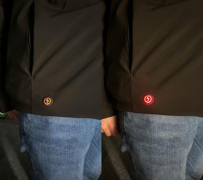 Luz LED en rojo y naranja de la chaqueta de plumas 90FUN con sistema de calefacción