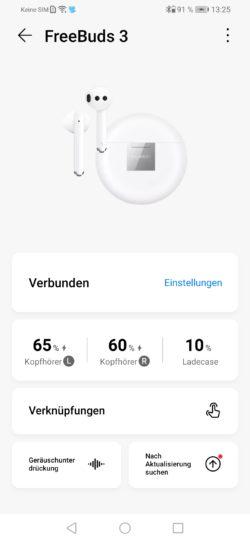 Interfaz de la aplicación para los auriculares de Huawei