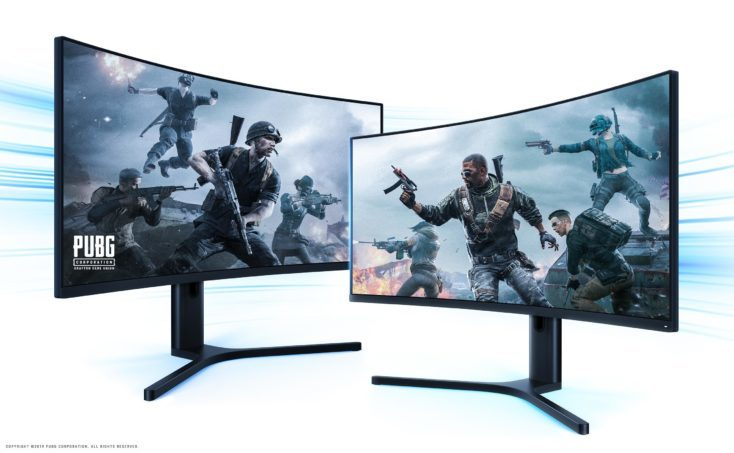 dos monitores gaming con pantalla curva de Xiaomi con imagenes de PUBG