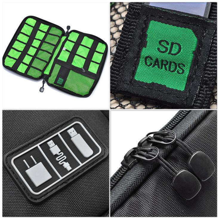 Detalles del neceser, cremallera, compartimento para tarjetas SD, pegatina de accesorios de electrónica