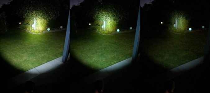 izquierda: iluminando a 560 lúmenes; medio: 200 lúmenes; derecha: 25 lúmenes