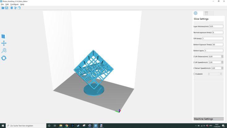 Captura de pantalla del programa de laminado Photon WorkShop