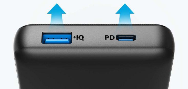 Puertos de la batería externa Anker PowerCore Essential