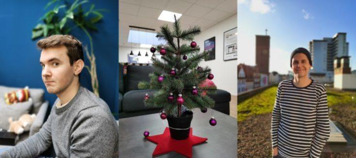 Diferentes fotos con el modo retrato, compañeros y un mini árbol de Navidad