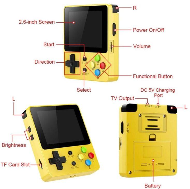 Controles y puertos de la consola retro LDK Game