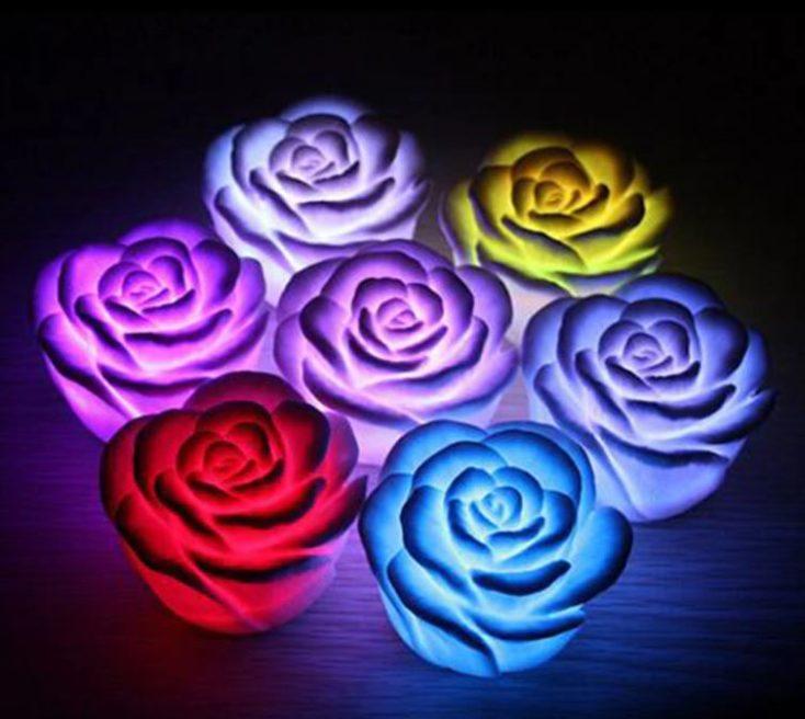 Luces LED con forma de rosa en diferentes colores