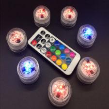 Luces LED en diferentes colores y mando a distancia
