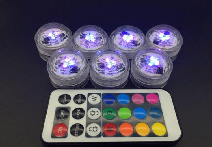 Luces LED en lila con mando a distancia